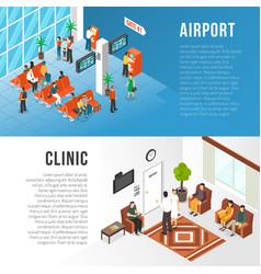 Waiting area banners set vector