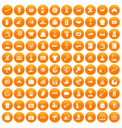 100 charity icons set orange vector