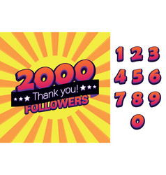 2000 followers thank you for social vector image
