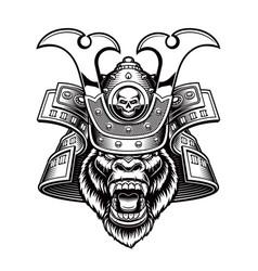 a gorilla samurai vector image