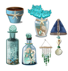 a set of glass bottles and elements of the vector image