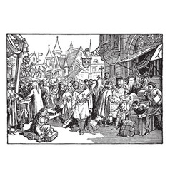 A street fair in 13th century france vintage vector