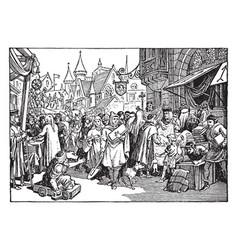 A street fair in 13th century france vintage vector