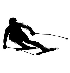 Alpine skiing silhouette isolated on white vector