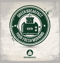 alternative green breakfast stamp vector image