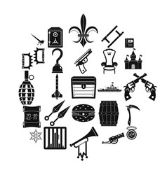 armament icons set simple style vector image
