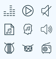Audio outlines set collection of barrel vector