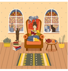 Autumn girl on cozy reading at home vector