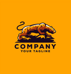 awesome cool leopard logo design vector image
