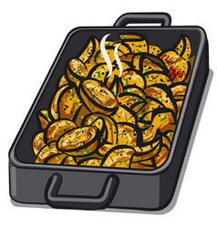 Baked grilled potatoes vector