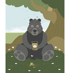 Bear with a jar of honey vector