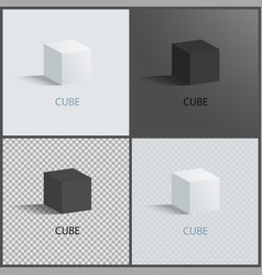 black and white cubes set vector image