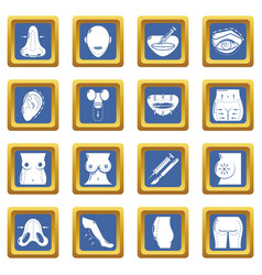 Body parts icons set blue square vector