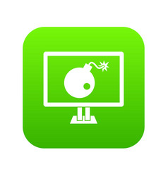bomb on computer monitor icon digital green vector image