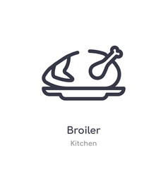 Broiler outline icon isolated line from kitchen vector