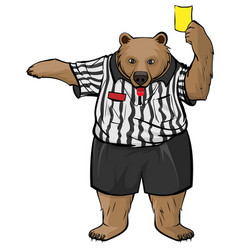 Brown russian bear soccer referee whistles and vector