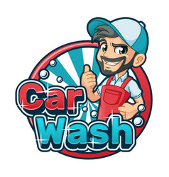Car wash cartoon logo vector