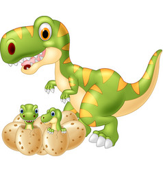 cartoon mother and baby dinosaur hatching vector image