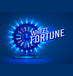 casino neon colorful fortune wheel blue vector image