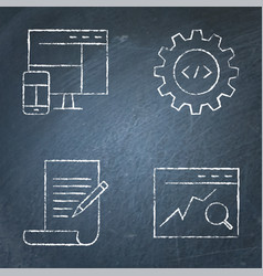 chalkboard seo icon set in line style vector image