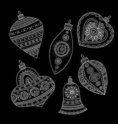 christmas tree decoration baubles line art vector image