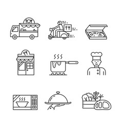 collection food icons and services simple vector image