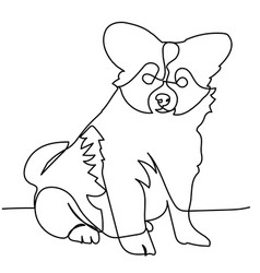 continuous line drawing of puppy vector image