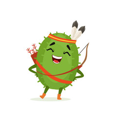 cute cactus native american indian funny plant vector image vector image
