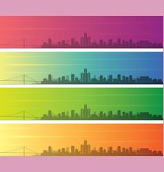 detroit multiple color gradient skyline banner vector image