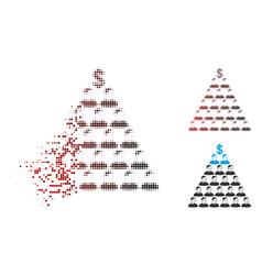 Disintegrating pixel halftone ponzi pyramid scheme vector