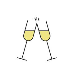 double champagne glass thin line icon vector image