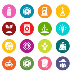 ecology icons set colorful circles vector image