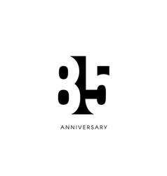 eighty five anniversary minimalistic logo vector image