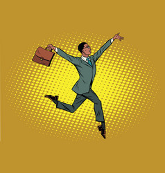 Elegant funny african businessman with briefcase vector