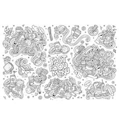 Fast food doodles hand drawn sketchy vector image