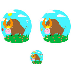 Find difference in picture bull on the vector