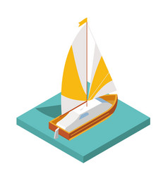 flat 3d isometric yacht for city map travel vector image