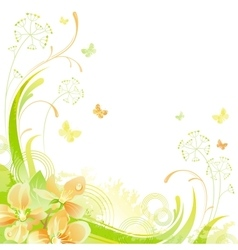 Floral summer background with cherry blossom vector