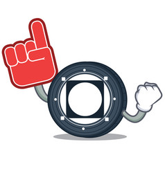 Foam finger byteball bytes coin mascot cartoon vector
