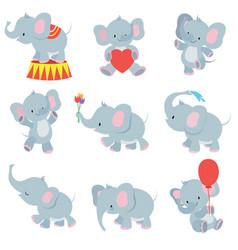 Funny cartoon baby elephants collection vector