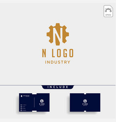 gear machine logo initial n industry icon design vector image