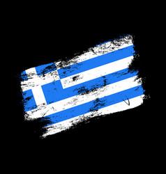 greece flag grunge brush background old brush vector image