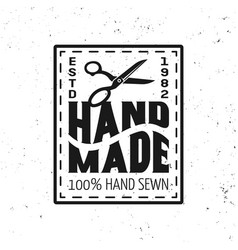 hand made sewing black squared emblem vector image