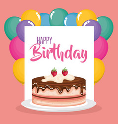 happy birthday card with cake and balloons helium vector image