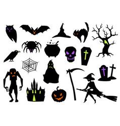 happy halloween celebration items vector image