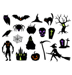 happy halloween set celebration items vector image