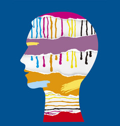 head silhouette with torn paper dripping paint vector image