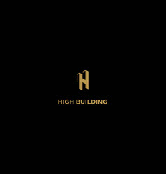 initial letter h for high building real estate vector image