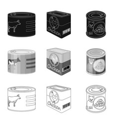 isolated object of can and food logo set of can vector image