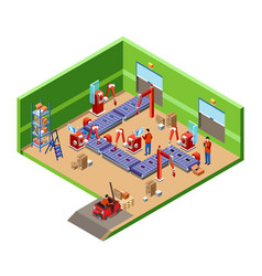 isometric automatic robotic assembly line vector image